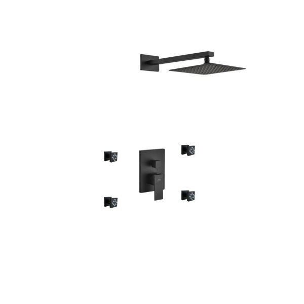 "Aqua Piazza Matte Black  Shower Set with 8"" Square Rain Shower and 4 Body Jets"