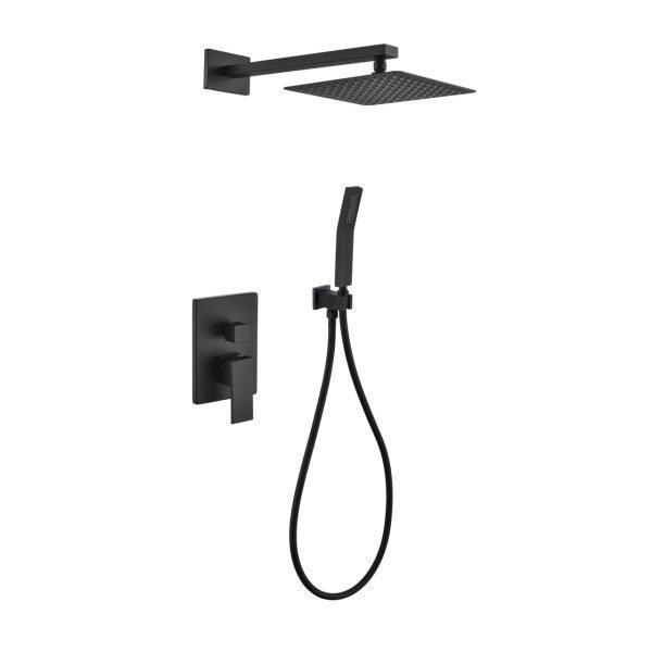 "Aqua Piazza Matte Black Shower Set with 8"" Square Rain Shower and Handheld"