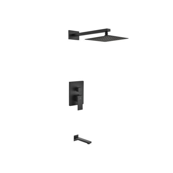 "Aqua Piazza Matte Black Shower Set with 8"" Square Rain Shower and Tub Filler"