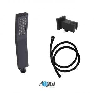 "Aqua Piazza Matte Black Shower Set with12"" Square Rain Shower and Handheld"