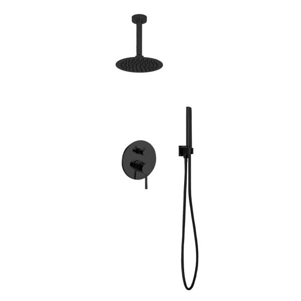 "Aqua Rondo Shower Set w/ 8"" Ceiling Mount Square Rain Shower and Handheld  - Black"