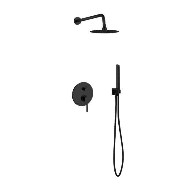 "Aqua Rondo Shower Set w/ 8"" Rain Shower and Handheld - Black"