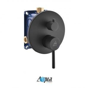 "Aqua Rondo Shower Set w/ Ceiling Mount 12"" Rain Shower, Handheld and Tub Filler - Black"
