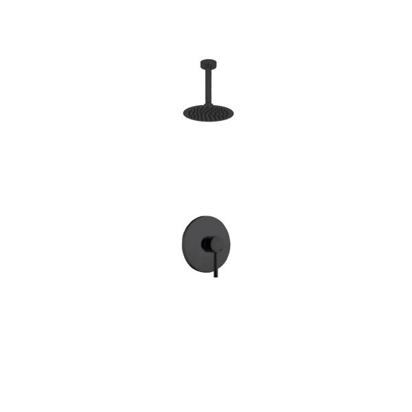 "Aqua Rondo Shower Set w/ Ceiling Mount 8"" Rain Shower Head  - Black"