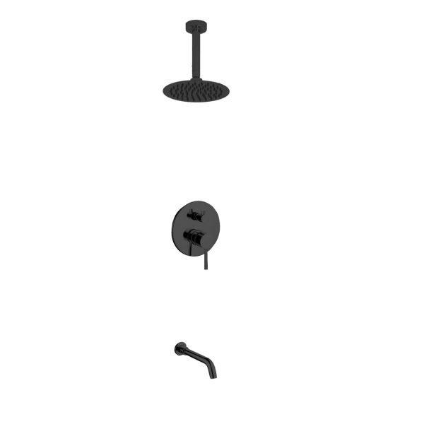 "Aqua Rondo Shower Set w/ Ceiling Mount 8"" Rain Shower and Tub Filler  - Black"