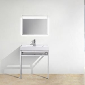 Haus - Stainless Steel Console W/ White Acrylic Sink – Chrome
