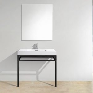 Haus - Stainless Steel Console W/ White Acrylic Sink – Matte Black