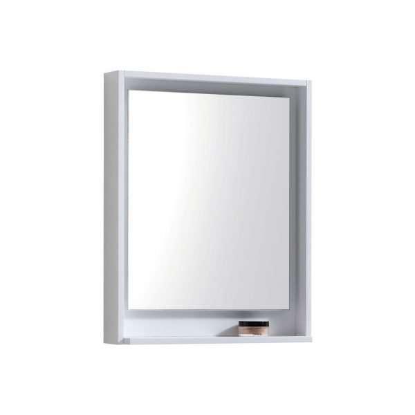 """Bosco 24"""" Framed Mirror With Shelve - Gloss White Finish"""