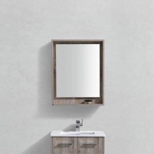 "Bosco 24"" Framed Mirror With Shelve - Nature Wood Finish"
