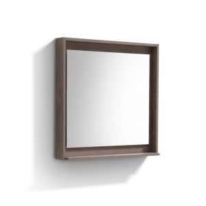 """Bosco 30"""" Framed Mirror With Shelve - Butternut Finish"""