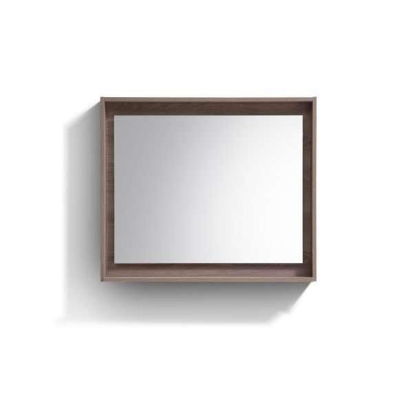 """Bosco 36"""" Framed Mirror With Shelve - Butternut  Finish"""