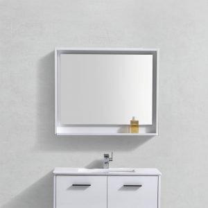"""Bosco 36"""" Framed Mirror With Shelve - Gloss White Finish"""
