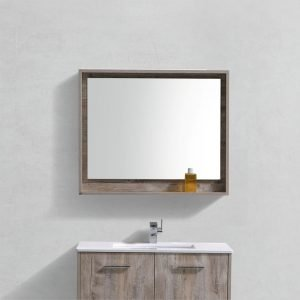 "Bosco 36"" Framed Mirror With Shelve - Nature Wood Finish"