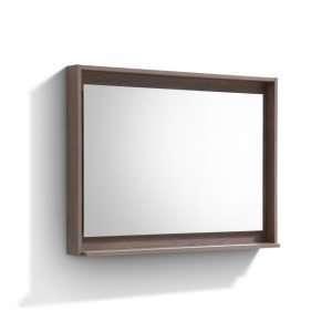 """Bosco 40"""" Framed Mirror With Shelve - Butternut  Finish"""