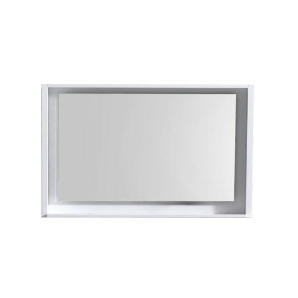 """Bosco 40"""" Framed Mirror With Shelve - Gloss White Finish"""