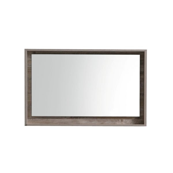 "Bosco 40"" Framed Mirror With Shelve - Nature Wood Finish"