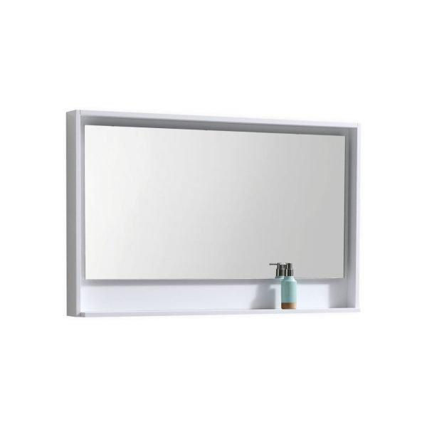 """Bosco 48"""" Framed Mirror With Shelve - Gloss White Finish"""