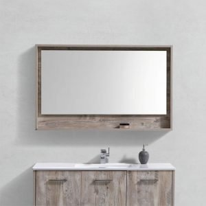 "Bosco 48"" Framed Mirror With Shelve - Nature Wood Finish"