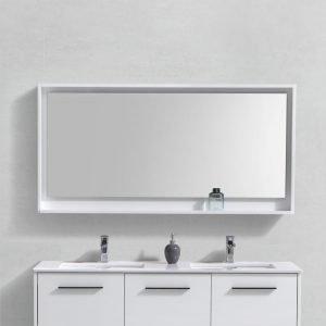 """Bosco 60"""" Framed Mirror With Shelve - Gloss White Finish"""