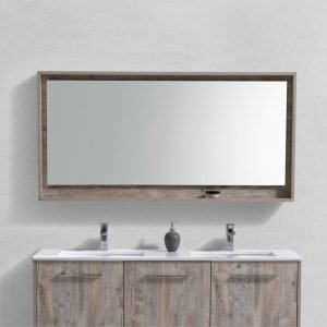 "Bosco 60"" Framed Mirror With Shelve - Nature Wood Finish"