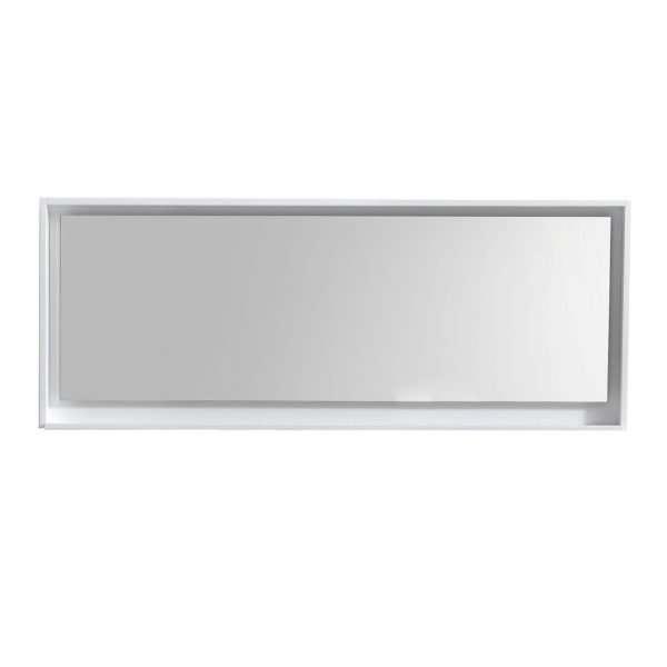"""Bliss 70"""" Framed Mirror With Shelve - Gloss White Finish"""