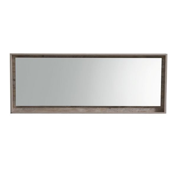 """Bliss 70"""" Framed Mirror With Shelve - Nature Wood Finish"""