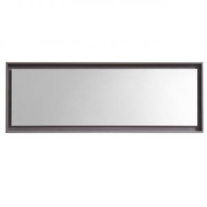 "Bliss 80"" Framed Mirror With Shelve - Gray Oak Finish"