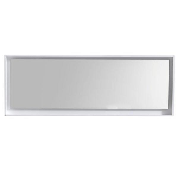 """Bliss 80"""" Framed Mirror With Shelve - Gloss White  Finish"""