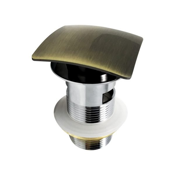 KubeBath Solid Brass Construction Square Pop-Up Drain With Overflow - Bronze