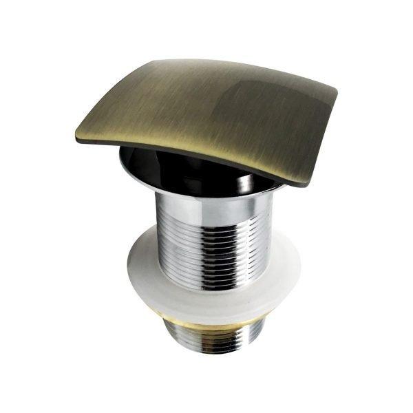 KubeBath Solid Brass Construction Square Pop-Up Drain NO Overflow - Bronze