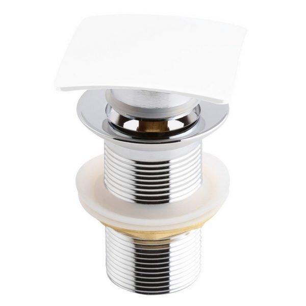 KubeBath Solid Brass Construction Square Pop-Up Drain NO Overflow - White