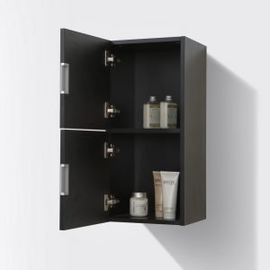 """Bliss 12"""" Wide by 24"""" High Linen Side Cabinet With Two Doors in Black Wood Finish"""