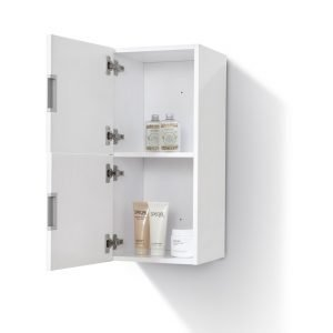 "Bliss 12"" Wide by 24"" High Linen Side Cabinet With Two Doors in Gloss White Finish"