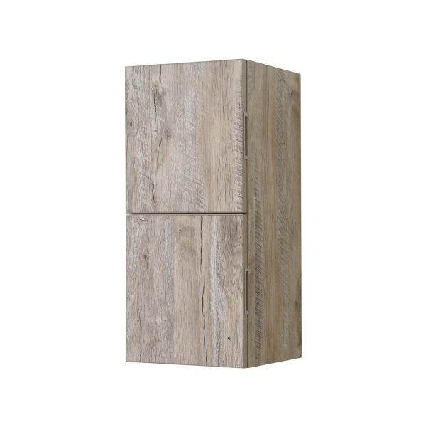 """Bliss 12"""" Wide by 24"""" High Linen Side Cabinet With Two Doors in Walnut Finish"""