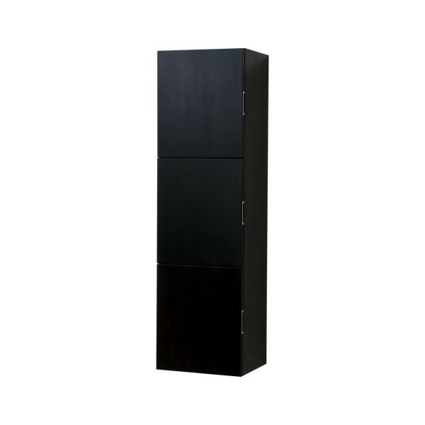 """Bliss 18"""" Wide by 59"""" High Linen Side Cabinet With Three Doors in Black Wood Finish"""