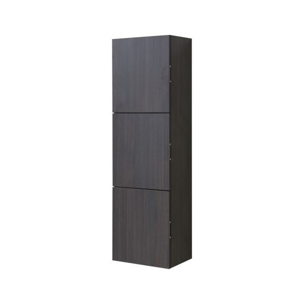 """Bliss 18"""" Wide by 59"""" High Linen Side Cabinet With Three Doors in High Gloss Gray Oak Finish"""
