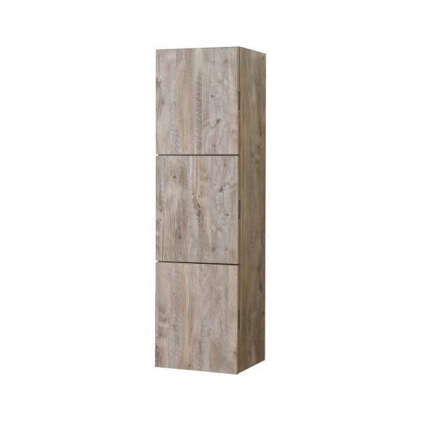 "Bliss 18"" Wide by 59"" High Linen Side Cabinet With Three Doors in Nature Wood Finish"