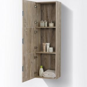 """Bliss 18"""" Wide by 59"""" High Linen Side Cabinet With Three Doors in Nature Wood Finish"""