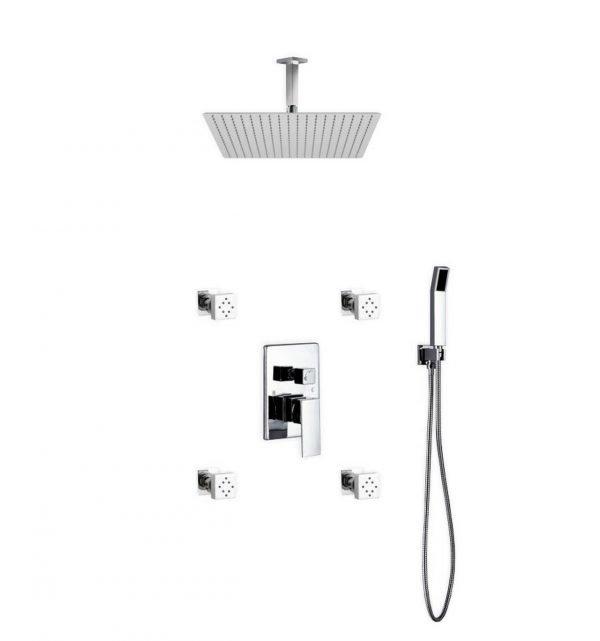 Aqua Piazza Shower Set W/ 20″ Ceiling Mount Square Rain Shower, 4 Body Jets And Handheld