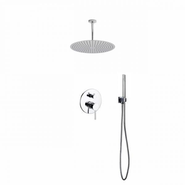 Aqua Rondo Shower Set W/ Ceiling Mount 20″ Rain Shower And Handheld