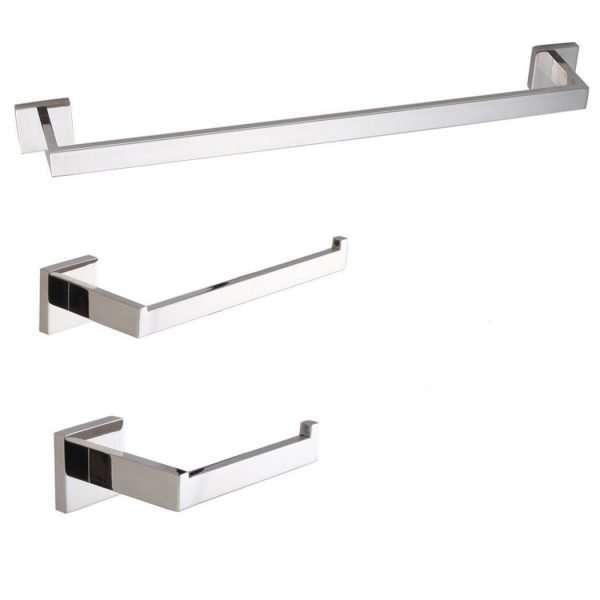 Bathroom Accessory Set - 3-Piece - Chrome